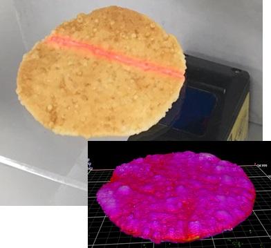 バディシステムを使用した煎餅の厚み計測